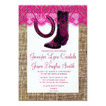 Pink Cowgirl Boots Horseshoe Burlap Lace Wedding Personalized Announcement