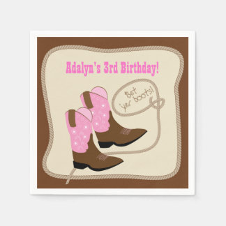 Pink Cowgirl Boots Western Birthday Party Disposable Napkin