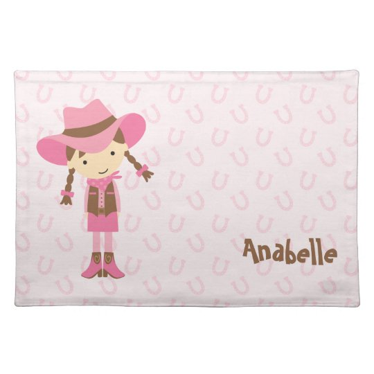 Pink Cowgirl Personalised Birthday Girl Placemats