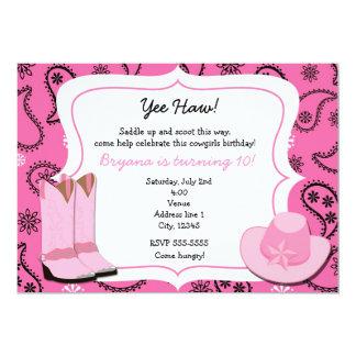 "Pink Cowgirl Western Bandana Paisley Invitation 5"" X 7"" Invitation Card"