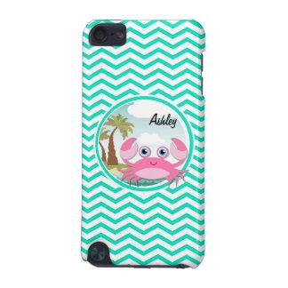 Pink Crab; Aqua Green Chevron iPod Touch 5G Cover