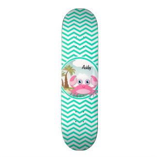 Pink Crab Aqua Green Chevron Skate Board