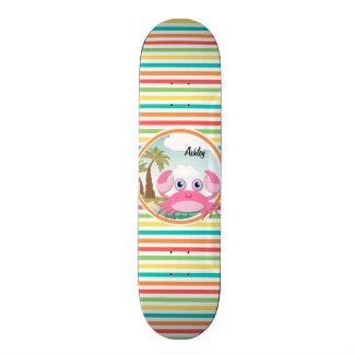 Pink Crab Bright Rainbow Stripes Skate Decks