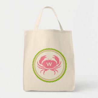 Pink Crab Monogram Grocery Bag