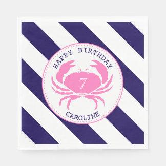 Pink Crab Nautical Birthday Party Disposable Napkin