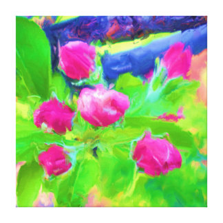 Pink Crabapple Buds Modern Oil Wrapped Canvas