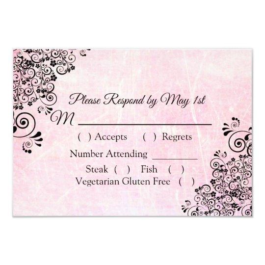 Pink Crackle Wedding RSVP card