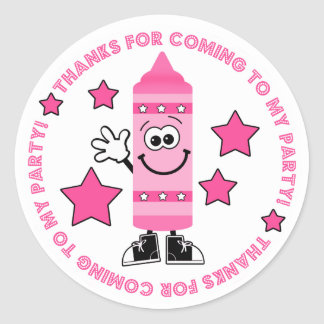 Pink Crayon Birthday Party Thank You Sticker