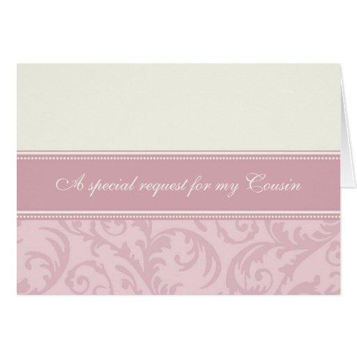 Pink Cream Cousin Bridesmaid Invitation Card