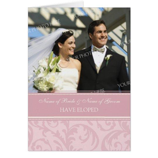 Pink Cream Elopement Photo Announcement Card