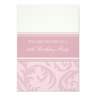 Pink Cream Floral 80th Birthday Party Invitations