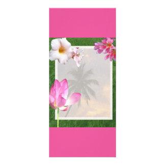 PINK CREAM HIBISCUS FLOWERS TROPICAL NATURE ROMANT 10 CM X 23 CM RACK CARD