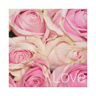 Pink Cream Roses Love Canvas Print