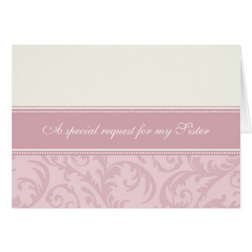 Pink Cream Sister Bridesmaid Invitation Card
