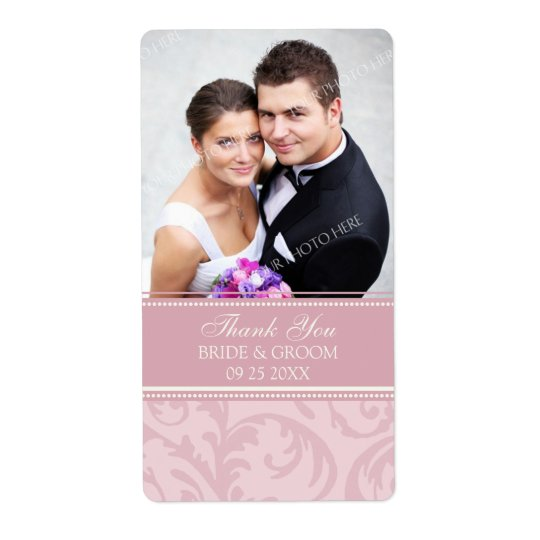 Pink Cream Swirls Photo Wedding Labels