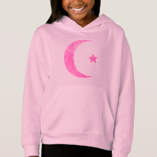 Pink Crescent Moon And Star Hoodie