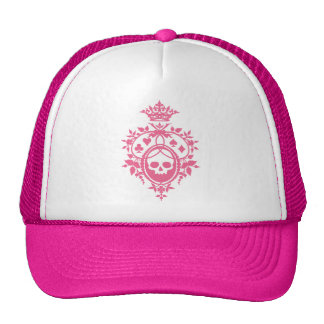 Pink Crest with Skull and Cardsuits Mesh Hat