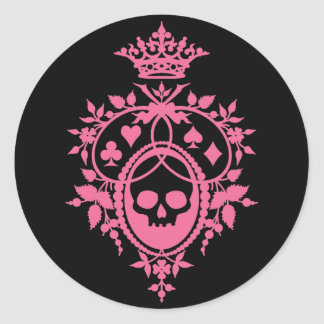 Pink Crest with Skull and Cardsuits Round Sticker