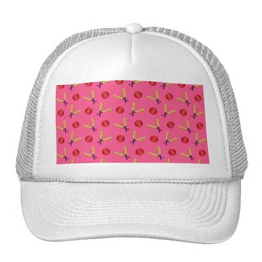pink cricket pattern mesh hats