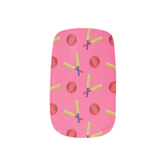 Pink cricket pattern minx nail art