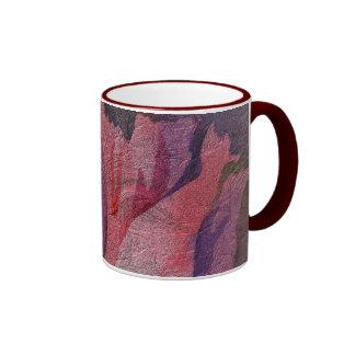 Pink Crimson Floral Romantic Textured Art Ringer Mug