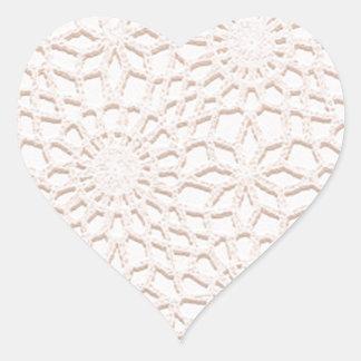 Pink Crochet Heart Sticker