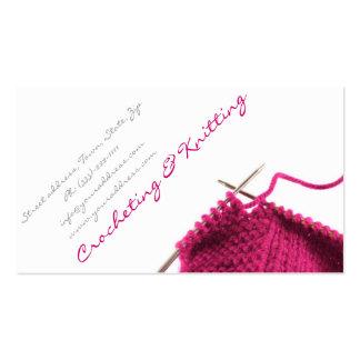 Pink Crocheting & Knitting Business Card