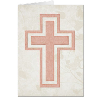 Pink Cross 4 Blank Christian Greeting Card