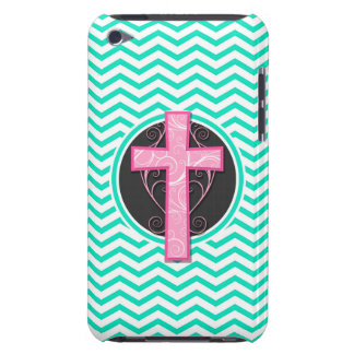 Pink Cross Aqua Green Chevron iPod Touch Case-Mate Case