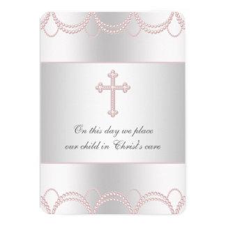 Pink Cross Baby Girl Christening Baptism Invites