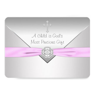 Pink Cross Baby Girl Christening 5x7 Paper Invitation Card
