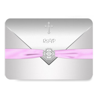 Pink Cross Baby Girl Christening RSVP Personalized Announcements