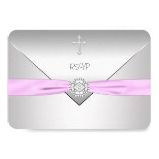 Pink Cross Baby Girl Christening RSVP 3.5x5 Paper Invitation Card