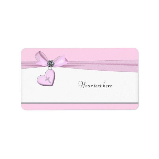 Pink Cross Baptism First Communion Address Label