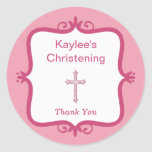 Pink Cross Baptism Round Sticker