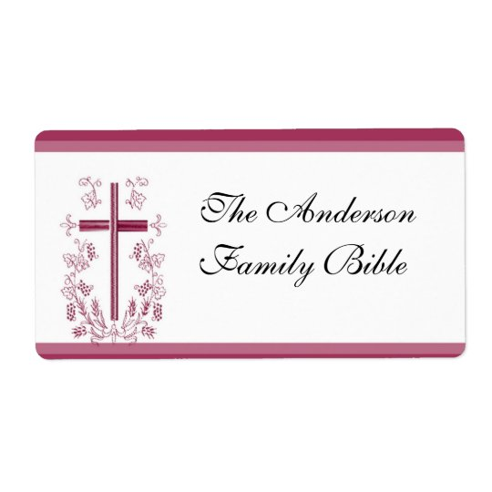 Pink Cross Bible Label