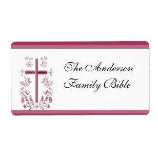 Pink Cross Bible Label Shipping Label