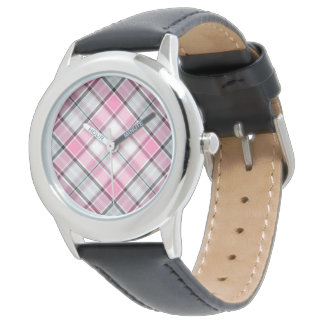 pink cross check designed watch