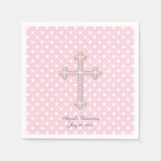 Pink Cross Christening Disposable Napkin