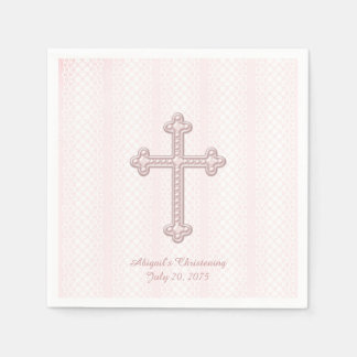 Pink Cross Christening Disposable Serviette