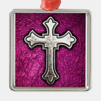 Pink Cross Christmas Ornament