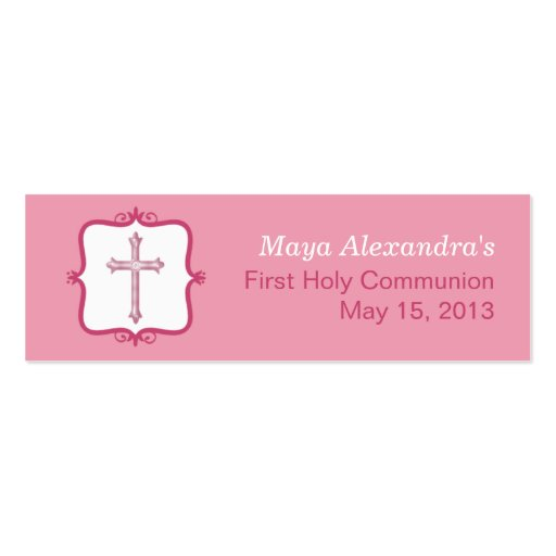Pink Cross Communion Small Tag Business Card Templates