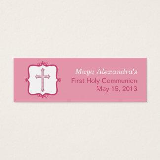 Pink Cross Communion Small Tag Mini Business Card