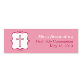 Pink Cross Communion Small Tag Pack Of Skinny Business Cards