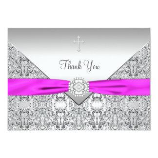 Pink Cross Elegant Christian Thank You Card 13 Cm X 18 Cm Invitation Card