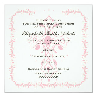 Pink Cross First Communion Confirmation 13 Cm X 13 Cm Square Invitation Card