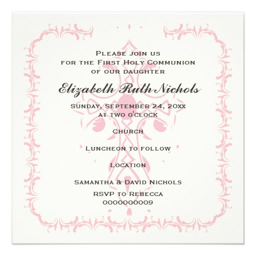 Pink Cross First Communion Confirmation Personalized Announcements