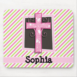 Pink Cross on Pink & Lime Green Stripes Mouse Pad