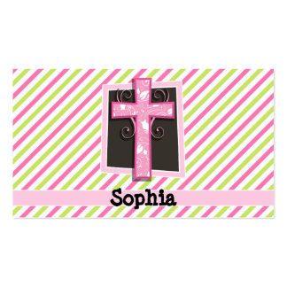 Pink Cross on Pink & Lime Green Stripes Pack Of Standard Business Cards