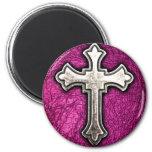 Pink Cross Refrigerator Magnet